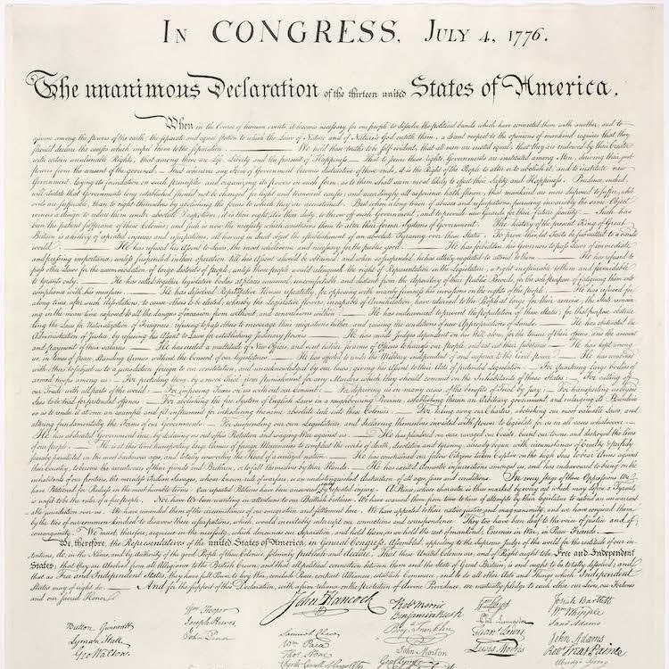 U.S. Declaration of independence (via  wikimedia commons )