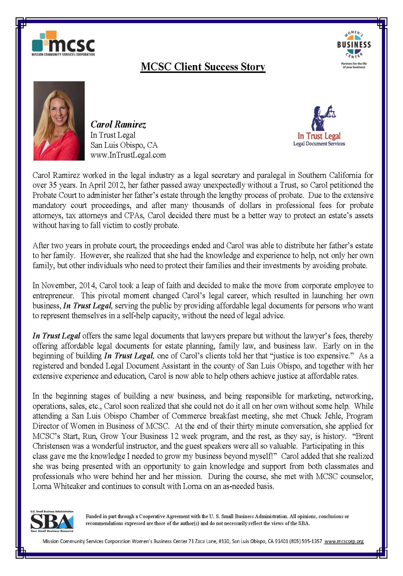 In Trust Legal Expands Carol Ramirez Success Story Mission - Corporation legal documents