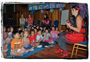 Storytelling in Rangoon, Burma.