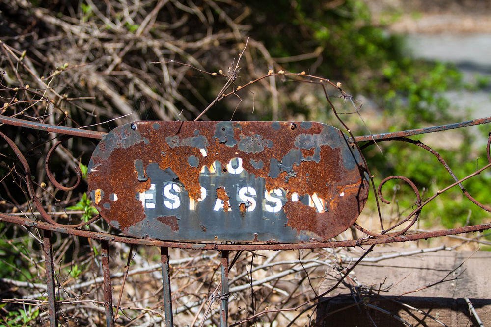The sign in front of an abandoned school we looked at. There are more of the school in the Flickr set.