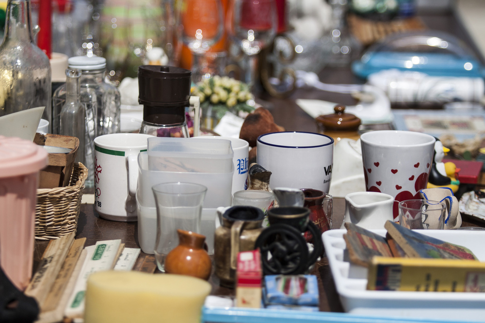 A lovely shot of a table of junk.