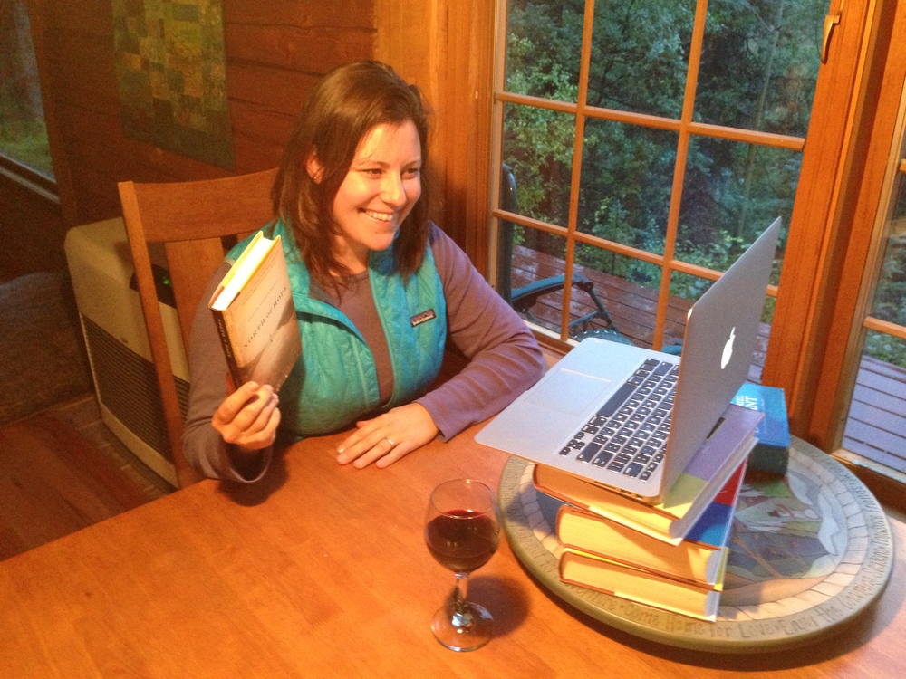 Talking to two Anchorage book clubs from the cabin in Denali