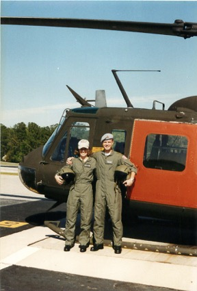 With stick buddy Anders Kyed from Denmark outside our UH-1 Huey trainer