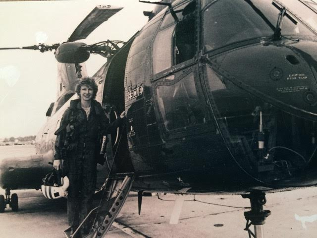 Karen Baetzel with her H-46. Photo courtesy of the Smithsonian.