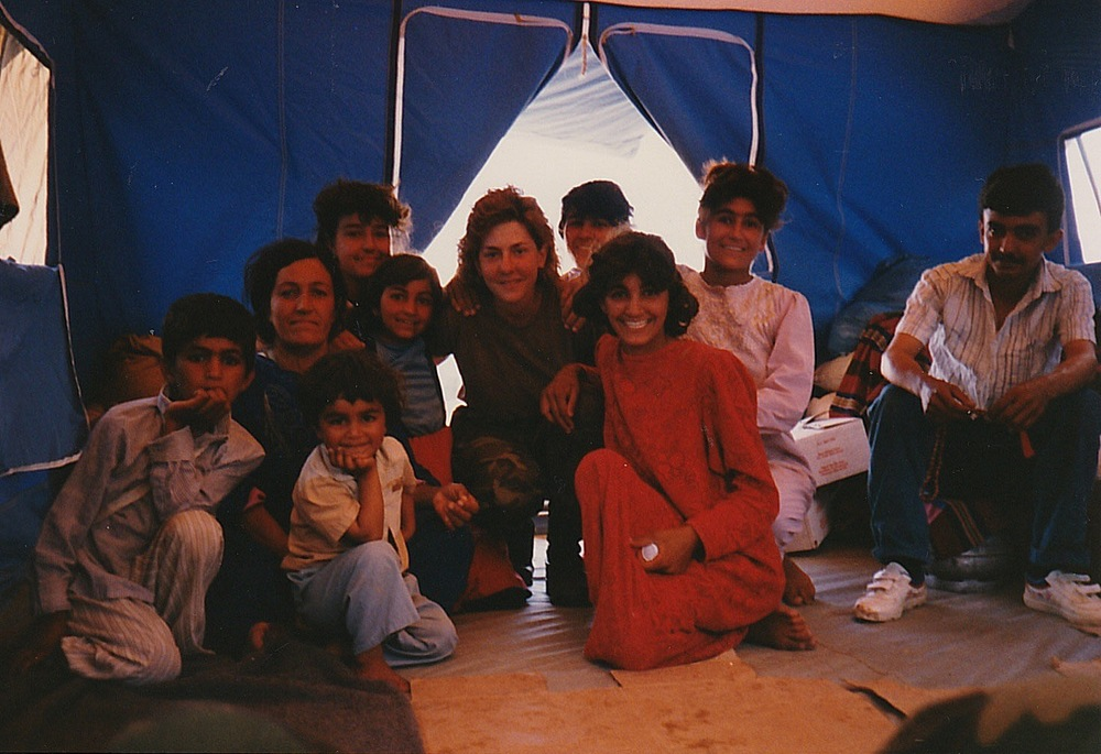 Nadine Kokolis with a Kurdish family in Iraq