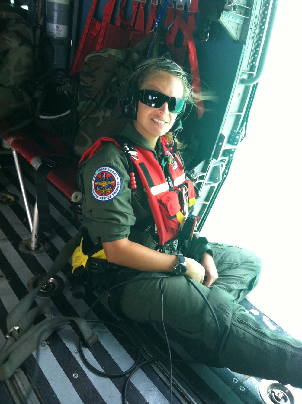 Sara Faulkner on patrol in the Carribean as a Coast Guard rescue swimmer