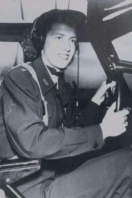 Edna Davis in the cockpit