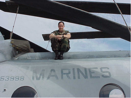 Marine officer and pilot Jen Nothelfer on her CH-46E