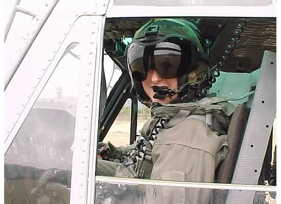 U.S. Navy pilot and leader Karen Brasch in the cockpit
