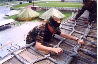 McWilliams on an obstacle course as a company grade officer