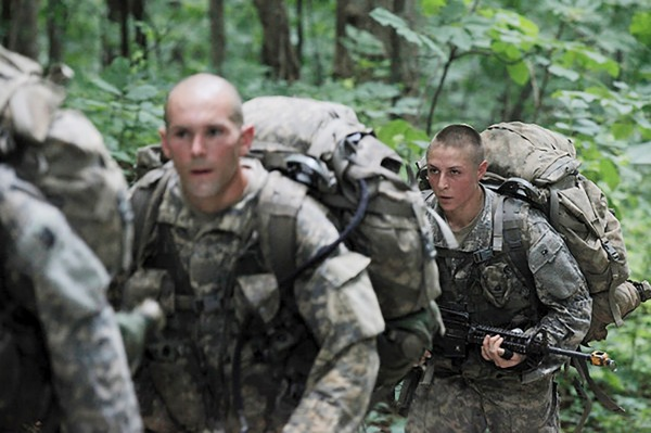 Shaye Haver, far right, in the Army Ranger School Mountain Phase