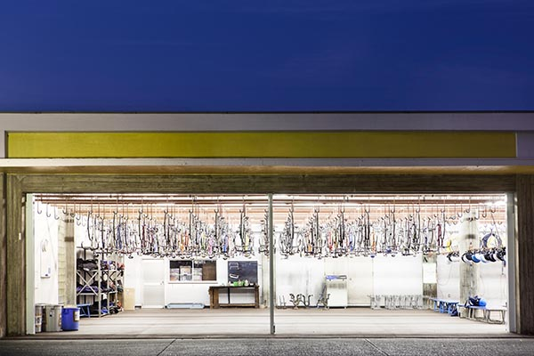 Bicycle storage at the Keirin School of Japan located on the Izu Peninsula.