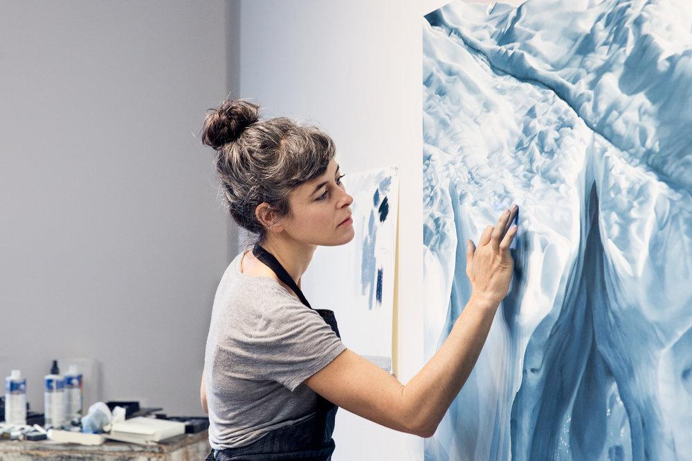 Painter Zaria Forman in her Brooklyn Studio