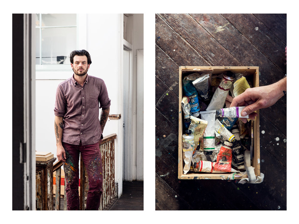 Painter Joshua King in his San Francisco Studio