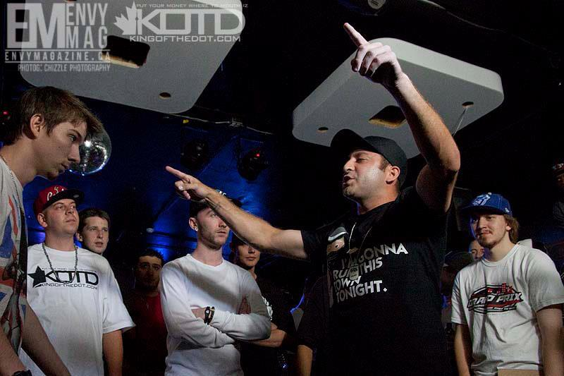 "P hoto from the KING OF THE DOT ""Ground Zero"" battle, showing Prehistoric's win over artist  Switch . Photo credit: KING OF THE DOT."