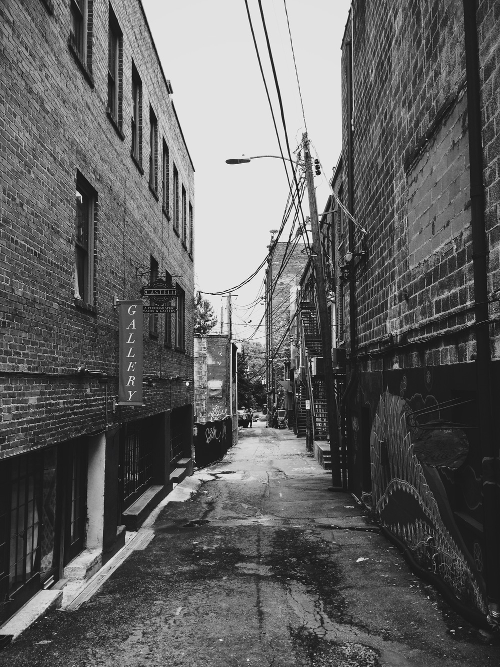 Exploring the alleys of Asheville.