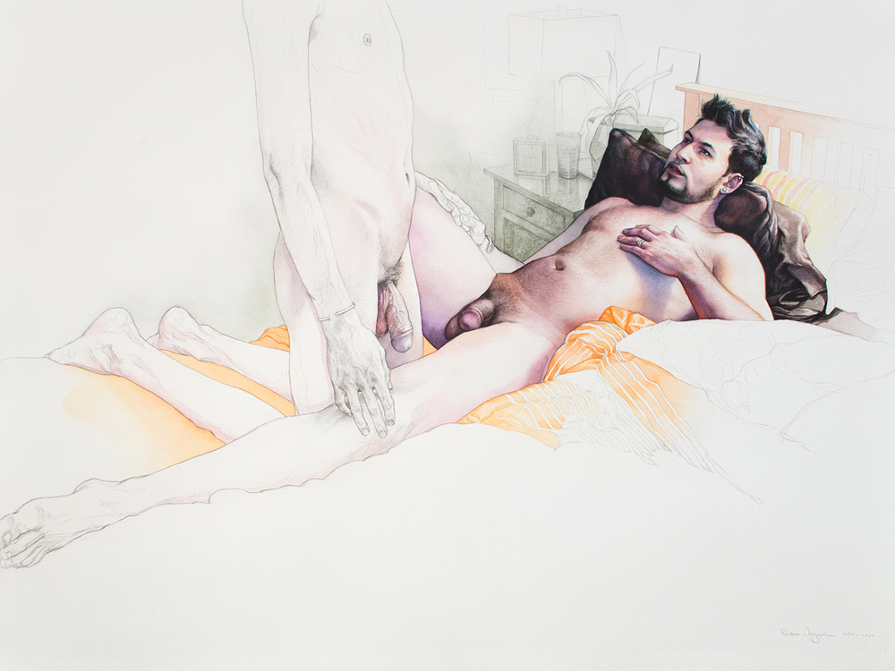 Chris and Mario: Embrace Color Study Graphite and watercolor on Arches Cold Press paper. 30 x 22 inches. 2015-2016.
