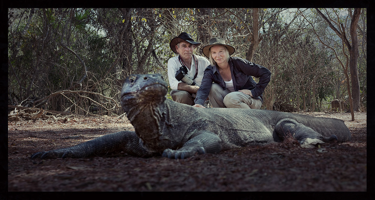 Noel and I with a Komodo dragon on Komodo Island. Komodo Island, Flores, Indonesia.
