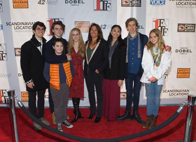 Pictured left to right: Adam Bernstein, Mikhael Kinley-Safronoff, Matisse Love, Serene Meshel-Dillman, Elizabeth Del Rosario, Eli Gruska, Ingrid Herbulot. Front: Atticus Boyle