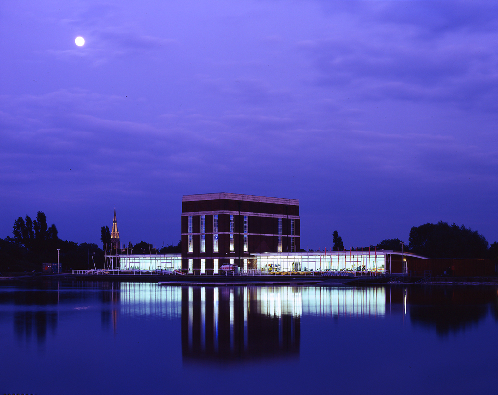 View of West Reservoir Centre for an event. Image: Marks Barfield Architects, Photograph by Marcus Robinson