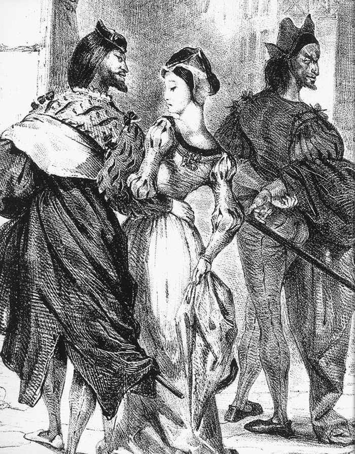 Faust meeting Marguerite - Eugene Delacroix, 1828.
