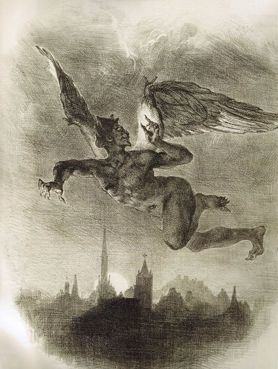 Mephistopheles in Flight - Eugène Delacroix, 1828.