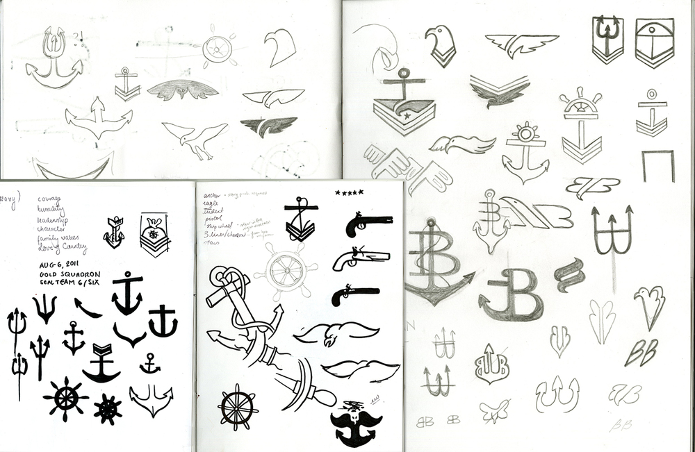 Early sketches explored symbolism found in the Navy SEAL trident, an insignia awarded to soldiers who successfully complete rigorous SEAL training exercises.