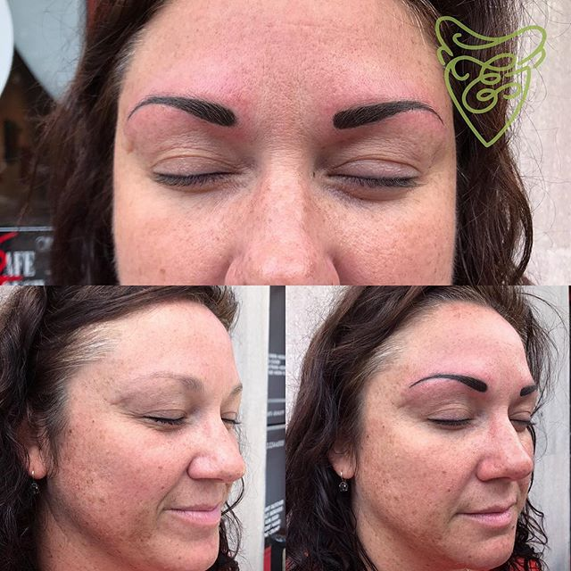 Some new brows for Ashley! These will soften up and lighten about 30%-50% and then we will have a follow up in a few weeks! Stoked on the first session! #kellyborderstattoo #eyebrowsonfleek #honorandgracetattoo #thebutchertattoo #permanentmakeup #eyebrowtattoo #powderfillbrows #savannahpermanentmakeup #wakeupwithmakeup