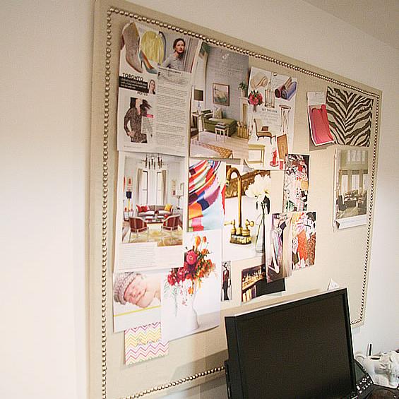 Painters tarp + Tacks = Gorgeous Bulletin Board