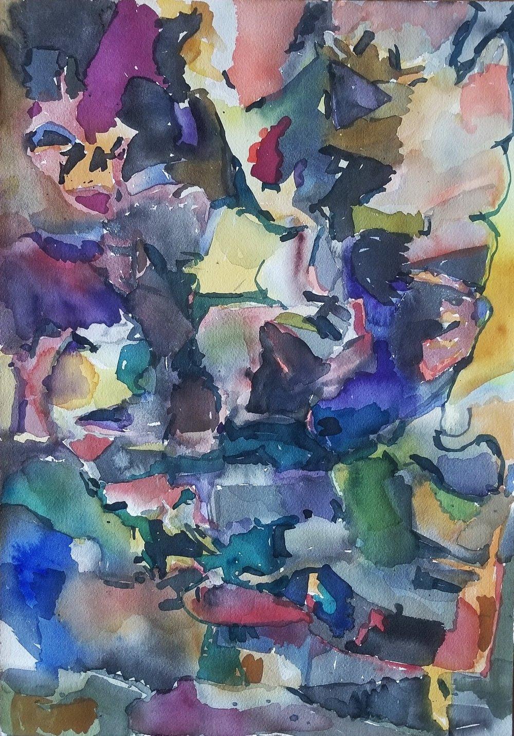 """Checker Twist, 14"""" x 12"""", Watercolor on Paper"""