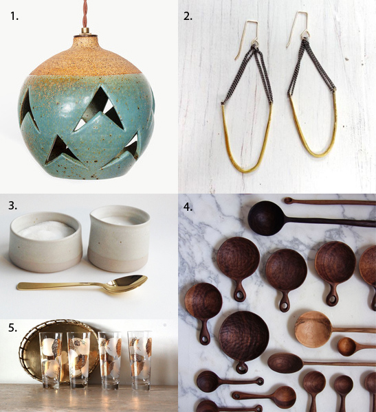1. Heather Levine Ceramic Lamp 2. Pechora Earrings by SLANTT  3. Ceramic Cream & Sugar with gold spoon by Paper and Clay  4. Hand carved wooden spoons by Ariele Alasko 5. Mid Century glasses with gold bamboo leaf pattern sold by Envy Alley on Etsy