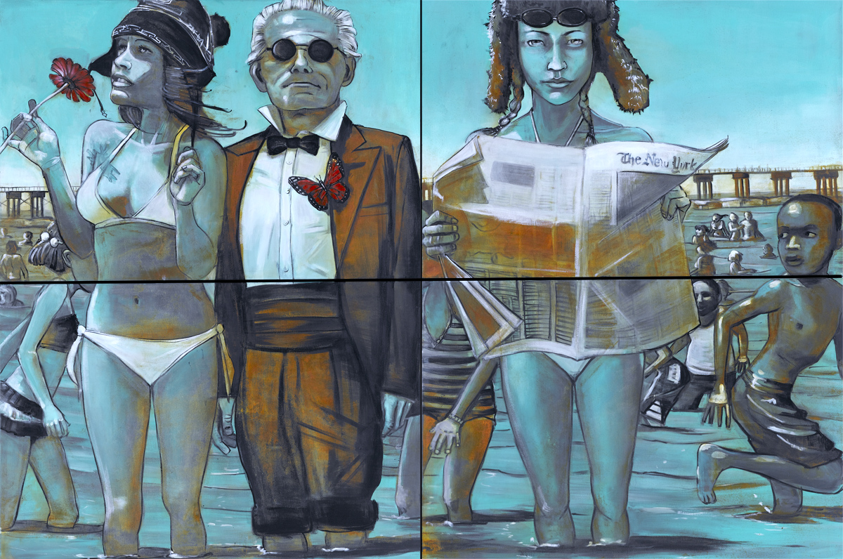 Not Dressed to Swim. Larry, Romana and me, 4' x 6', quadryptich