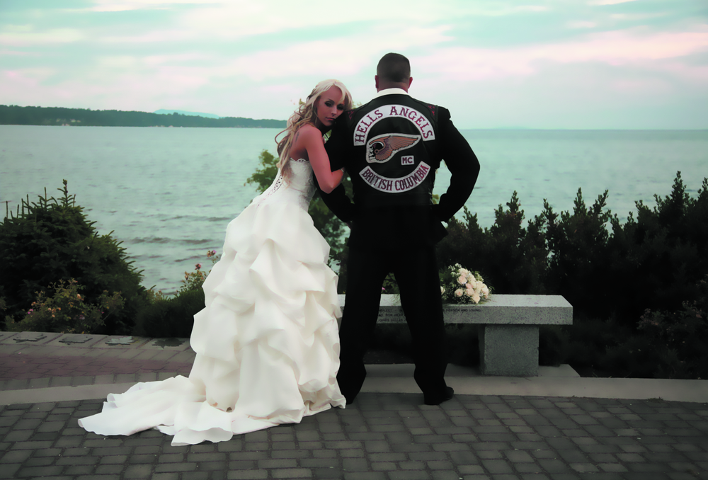 Kerri Krysko on her wedding day with her full patch Hells Angel ex-husband.
