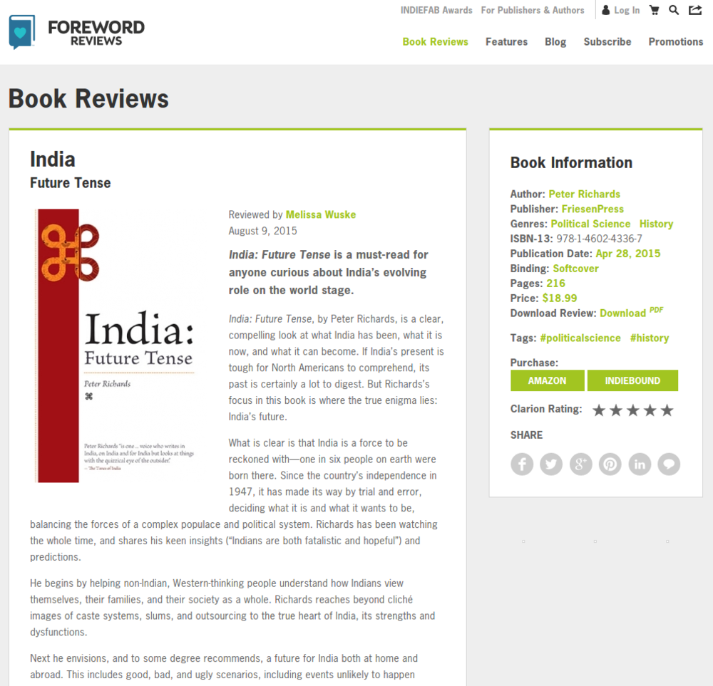 "Clarion review of friesenpress title ""india: future tense"" - click the image for more reviews!"