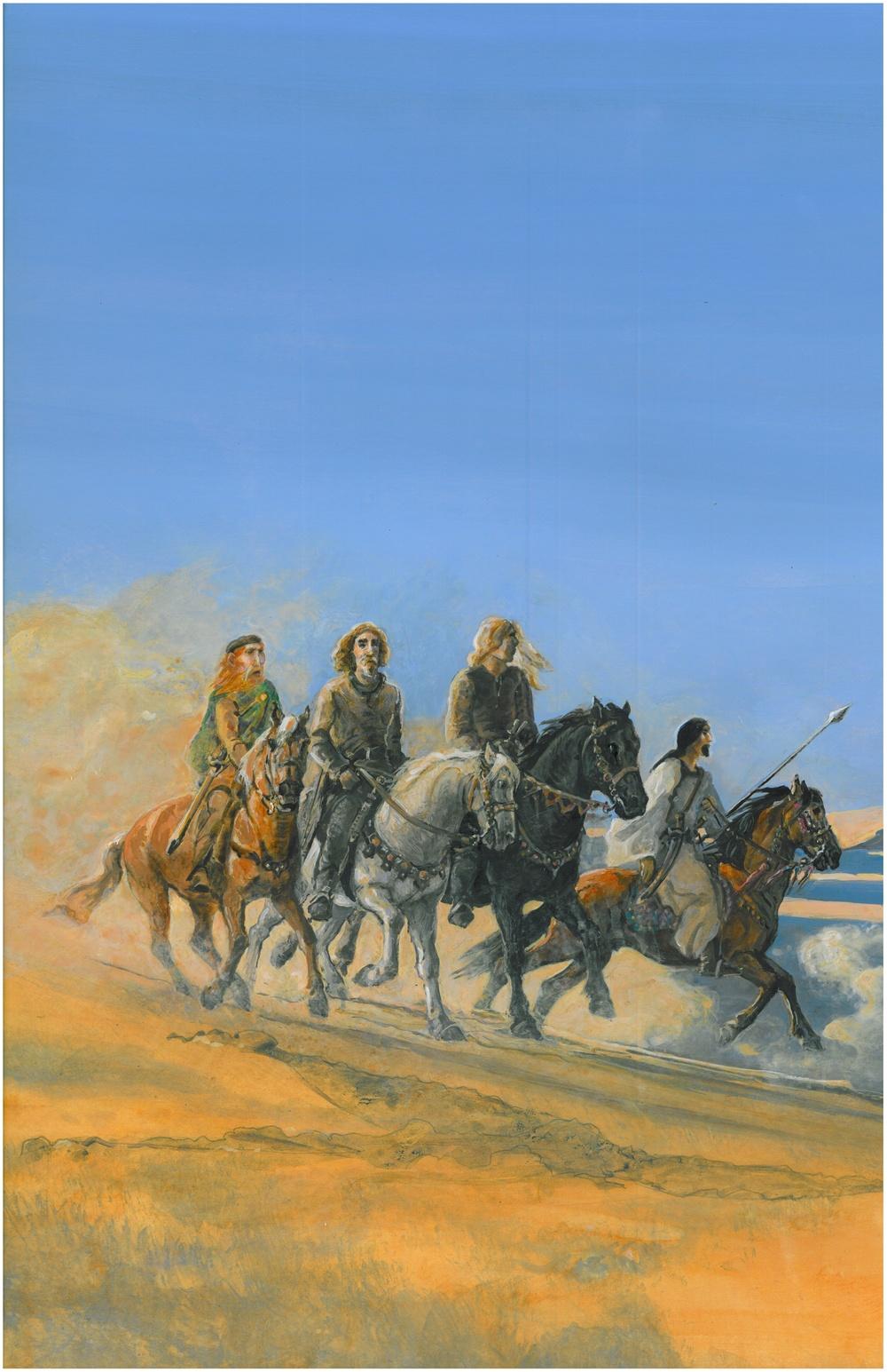 Men on horseback - illustration
