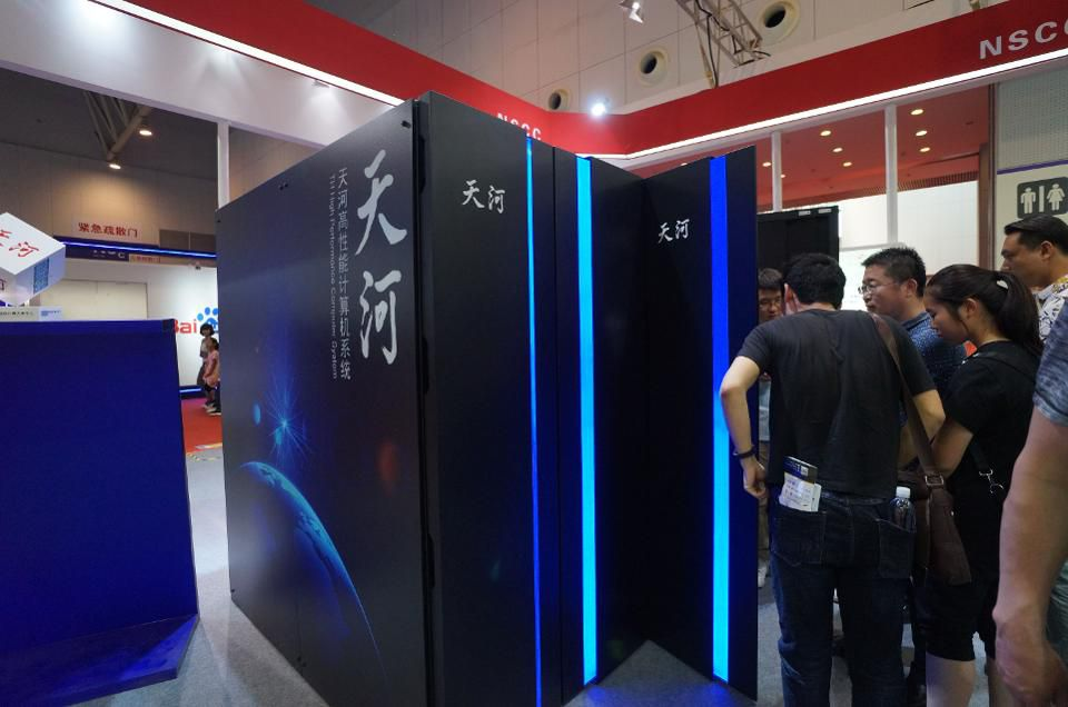 Visitors watch the prototype of Chinese supercomputer Tianhe-3 at World Intelligence Expo in Tianjin, China. (Photo: VCG via Getty Images)