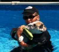 U-mi's first swim ..... does she look scared or what?