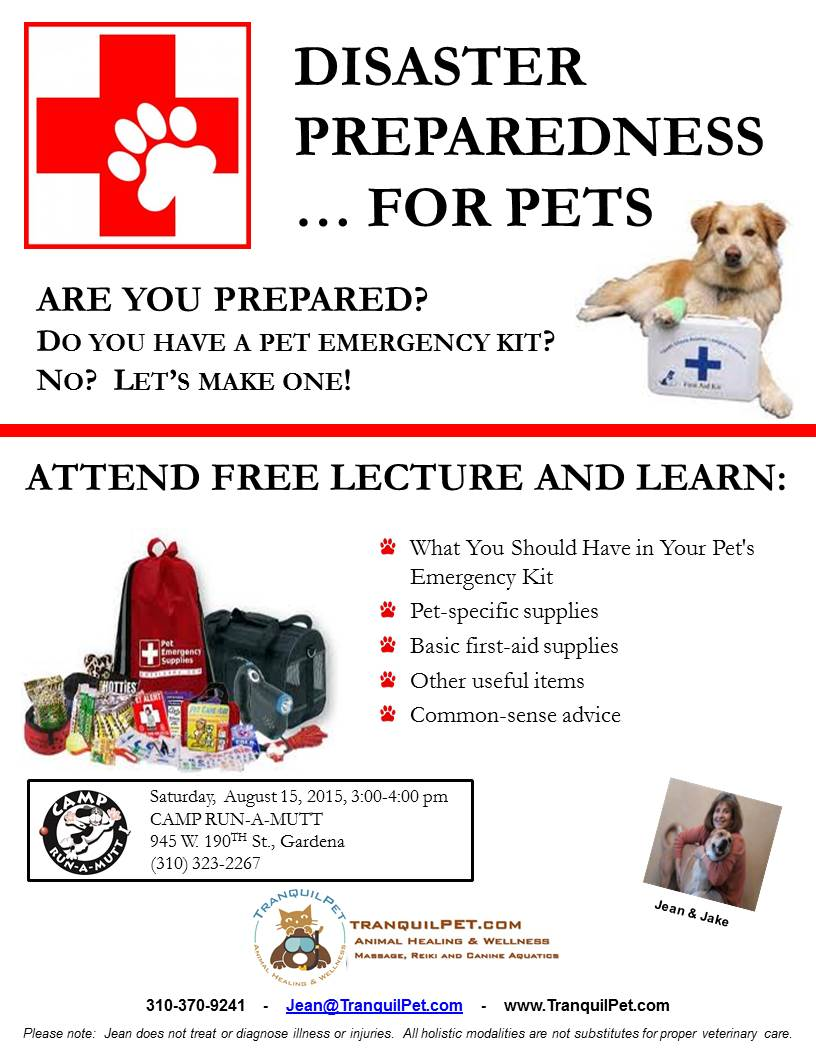 pet safety, pet emergency supply kit, pet disaster preparedness, canine swimming, dog swimming, dog swim therapy