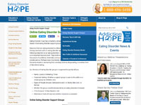 Audience: Professionals, Caregivers, Patients.  https://www.eatingdisorderhope.com/recovery/support-groups/online