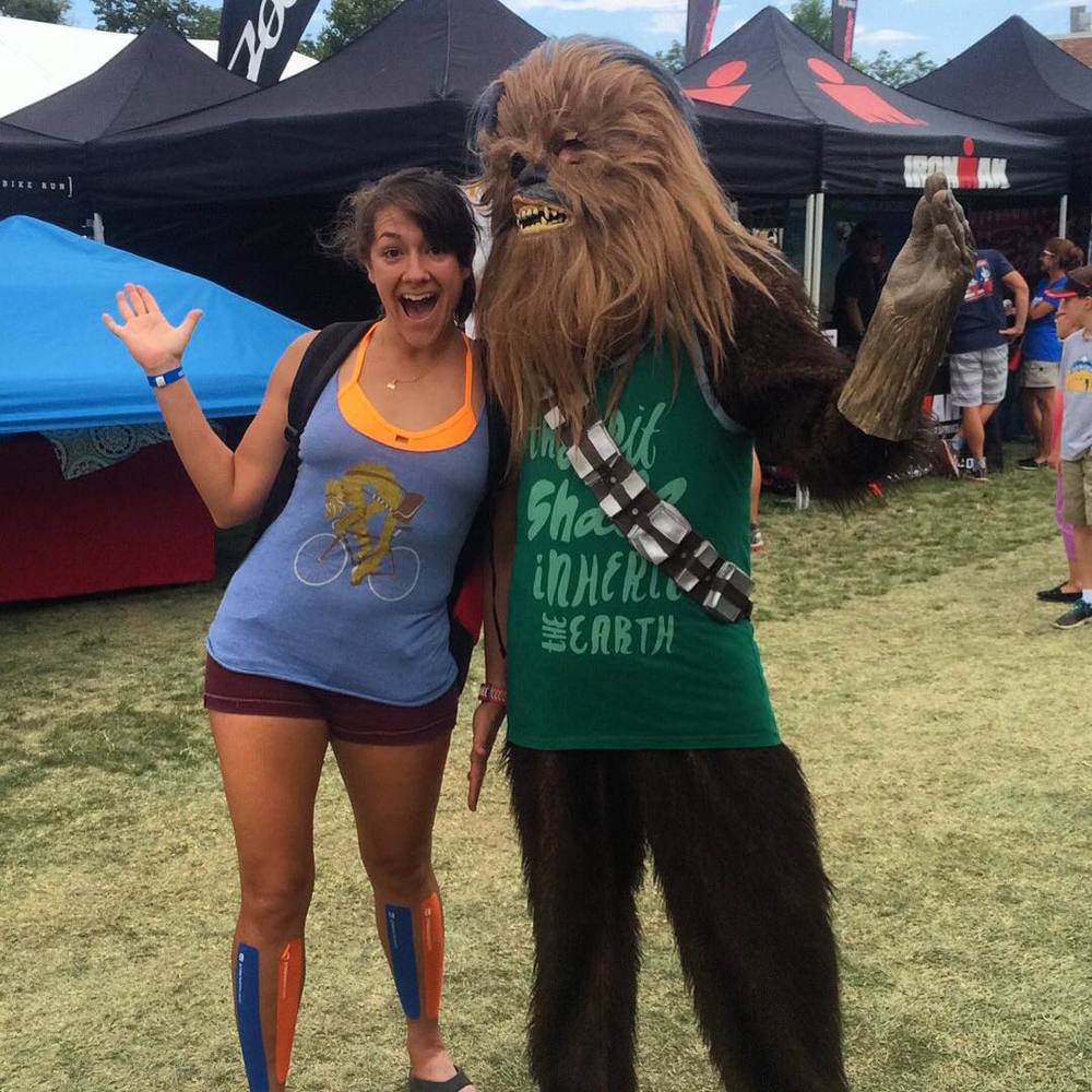 Rocking the Mets colored shin tape at the Ironman Boulder expo with my Wookie at my side. (He gave me a voucher for a free margarita since I was wearing his shirt. But seriously: would WOULDN'T wear this shirt?!