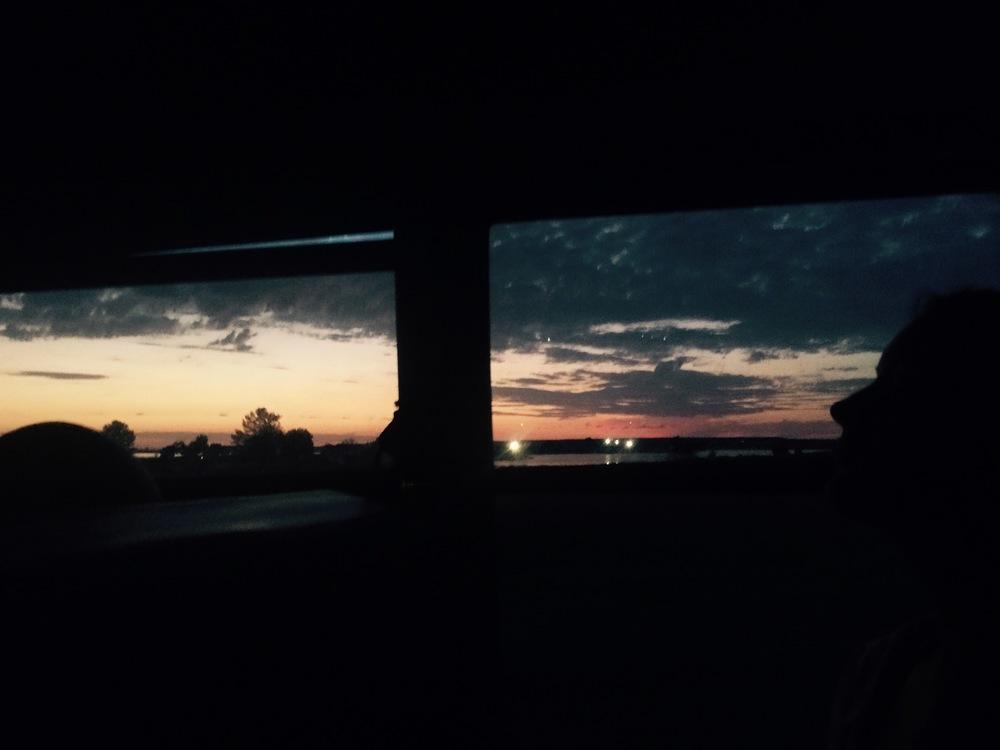 Sunrise on the shuttle.