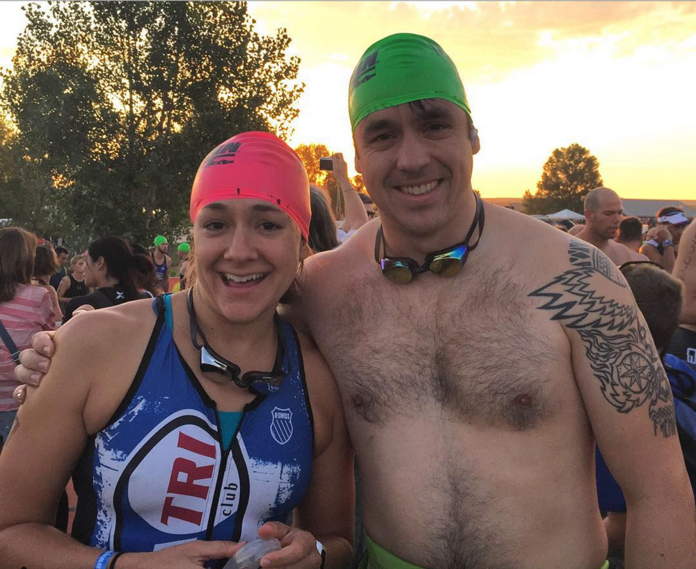 Insanely nervous. Andy looks okay... for someone who has NEVER DONE A TRIATHLON. (Crazy.)