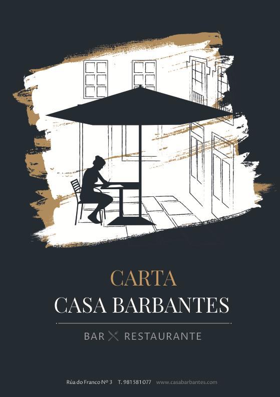 Logo y carta para Restaurante Barbantes. Santiago de Compostela.