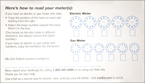 Con Edison Meter Reading Card