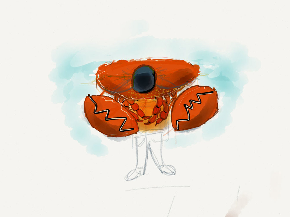 A very early concept sketch for the protagonist crab's costume. The costume wouldn't have ended up much like. There was a lot more exploration to go before I could arrive at a final design. Click to enlarge.