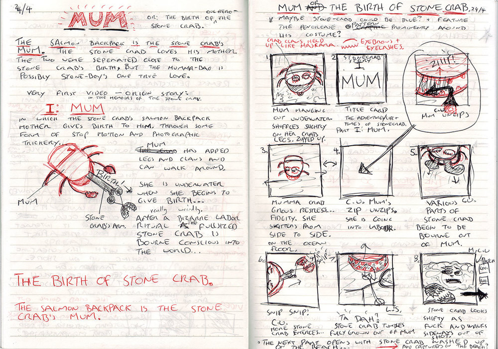 Here's a hastily sketched storyboard for the first chapter of the project. In this scene the protagonist crab is hilariously born into a world that doesn't quite suit him… Click to enlarge.