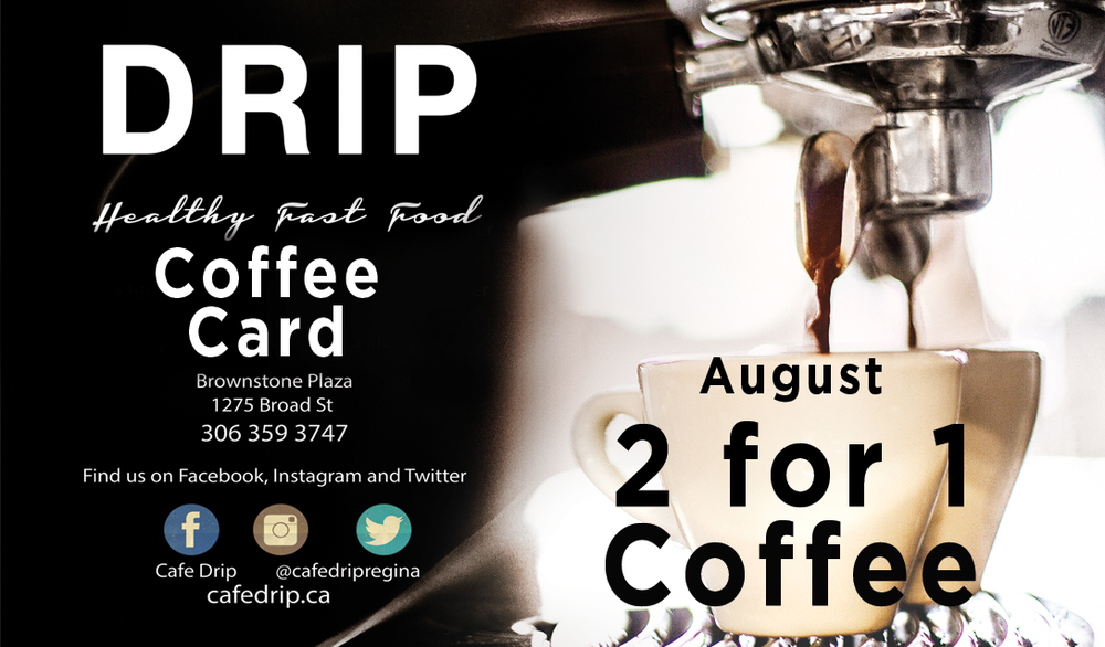 From Aug 15th-31st, show us your coffee card when purchasing a DRIP coffee. We'll send you off with a FREE same-sized DRIP coffee. Happy August!