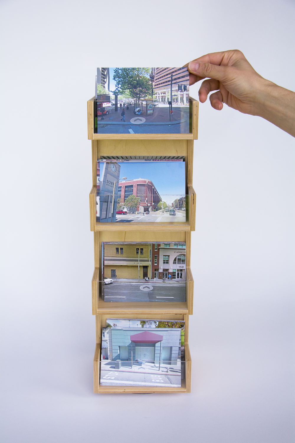 COLL.EO  A NEW AMERICAN DREAM (2014)  Digital photographs, wooden postcard racks, postcards 4 x 6 inches