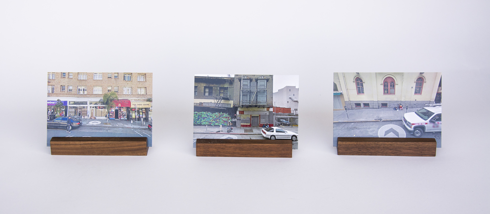 COLL.EO  A NEW AMERICAN DREAM (2014)  Digital photographs, three walnut wooden postcard holders (5 x 1 inches each), postcards (4 x 6 inches each)