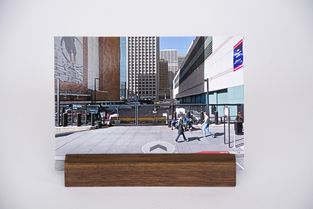 COLL.EO  A NEW AMERICAN DREAM (2014)  Digital photographs, walnut wooden postcard holder (5 x 1 inches), postcard (4 x 6 inches)